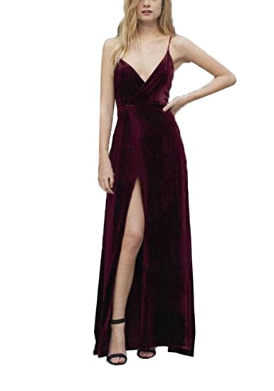 Topashe Womens Velvet Spaghetti Straps Thigh-High Split Prom Gown Party Dress: Amazon.co.uk: Clothing
