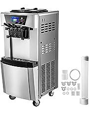 VEVOR Professionele Ijsmachine 3 Smaken Softijsmachine 2 x 6 L Automatische Ice Cream Machine Gegalvaniseerde Plaat + Rvs Ijsmaker 20-30 L/H Ijs Machine Zacht Serveren voor Bars/Cafés/Dessertwinkels