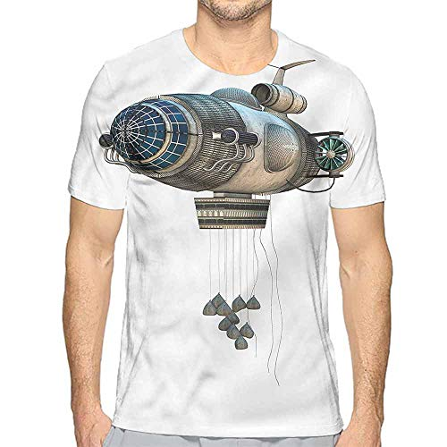 bybyhome Mens t Shirt Zeppelin,Fantasy Aircraft Spaceship HD Print t Shirt XL