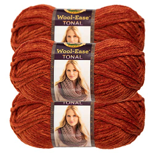 (Lion Brand Yarn (3 Pack) Acrylic & Wool Chunky Yarn for Knitting Crocheting Soft Yarn Bulky #5)