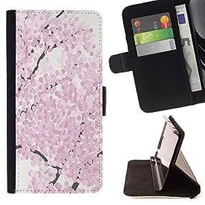 For Sony Xperia Z3 D6603 Case , Flor de cerezo de la acuarela primavera Pétalo- la tarjeta de Crédito Slots PU Funda de cuero Monedero caso cubierta de piel