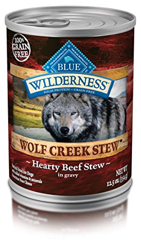 Blue Buffalo Wilderness Wolf Creek Stew High Protein Grain Free, Natural Wet Dog Food, Hearty Beef Stew in gravy 12.5-oz can (pack of 12)