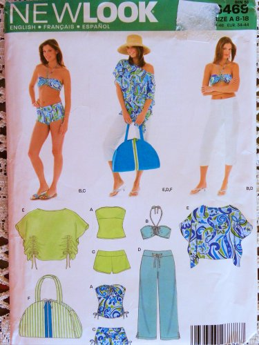 New Look 6469 Misses Swim/Beach Wardrobe Sewing Pattern Size 8 to 18 Bikini, Pants, Top, Tank, Bags (Treasure Beach Pants)