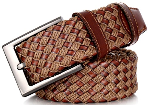 Marino Web Belt for Men, Braided Elastic and Genuine Leather Woven Dress Belt with Metal Buckle - Brown and Tan - Medium - Web Leather