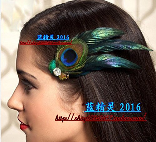 Black green peacock feather hairpin edge clip cheongsam dress performance usually wearable Ms (Black Feather Edge)