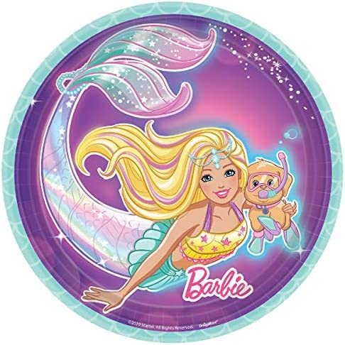 Bundle Includes Paper Dessert Plates and Napkins for 16 People Iridescent Teal and Purple Hues Barbie Mermaid Party Supplies