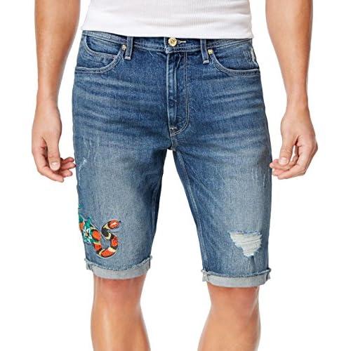 Sean John Snake Embroidery Slim Straight Stretch Fit Denim Shorts