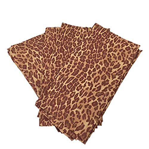 (Enchante Accessories Linen Cotton Napkins Cloth Fabric Square Dinner Safari Cheetah Animal Print Brown Set of 4 Pack)