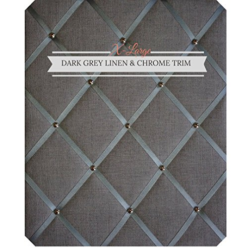 (X Large Size Dark Gray Linen Memo Board with Chrome)