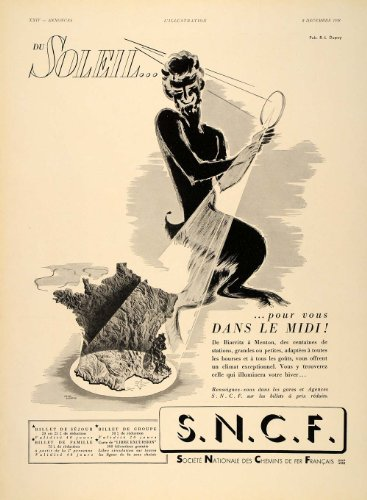1938 French Ad Travel France Riviera Railroad Satyr - Original Print Ad (Railroad Sou)