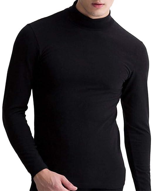 MODCHOK Hombre Camiseta de Manga Larga T-Shirt Cuello Alto ...
