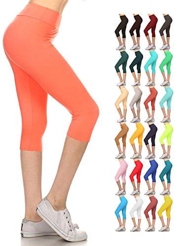 Leggings Depot Women's Yoga Gym High Waist Reg/Plus Solid and Printed Workout Capri Leggings Pants 16+Colors (Coral, Plus Size (Size L-2X / Size 12-20))