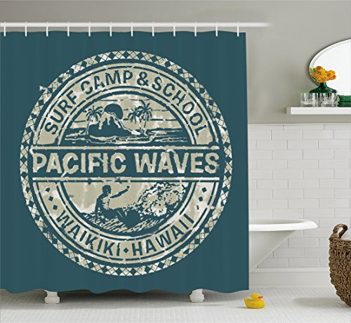 Modern Shower Curtain by Ambesonne, Pacific Waves Surf Camp and School Hawaii Logo Motif with Artsy Effects Design, Fabric Bathroom Decor Set with Hooks, 84 Inches Extra Long, Khaki Slate Blue (Camp Surf Waves)