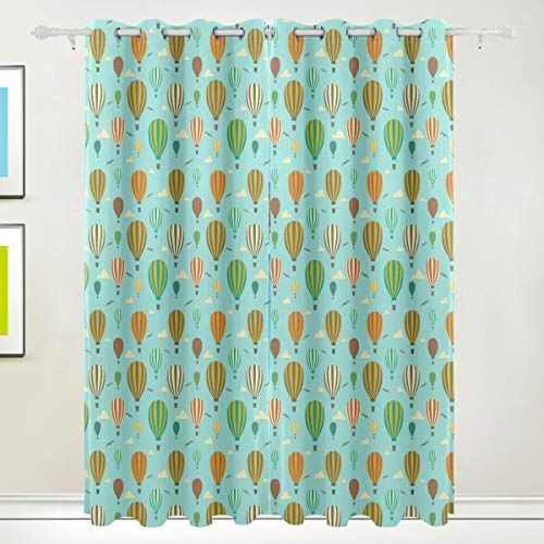 (Horatiood Huberyyd Roar Mint Green 1Rst Birthday Balloons Elegant Vintage Soft and Durable Print Insulated Room Darkened Blackout Curtain Bedroom 84x55)