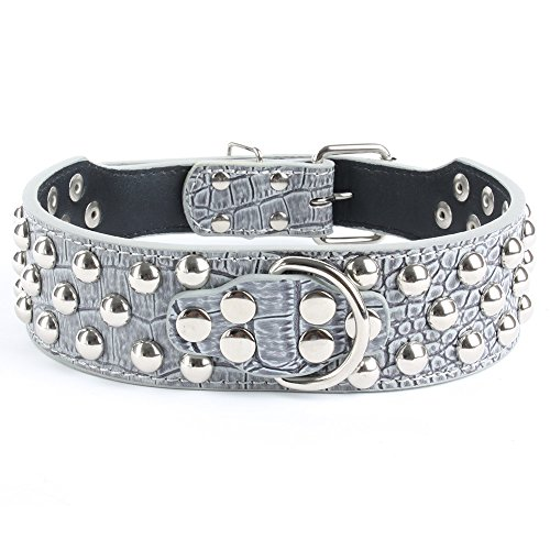 Benala Unique Round Spiked Studded Faux Leather Dog Collar Large Pet Dog Pitbull Bully Terrier,Grey,S
