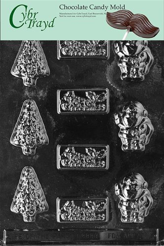 Cybrtrayd Life of the Party C001 Merry Christmas Assortment  Chocolate Candy Mold in Sealed Protective Poly Bag Imprinted with Copyrighted Cybrtrayd Molding Instructions