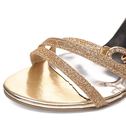 AllhqFashion Mujeres Puntera Abierta Tacón de aguja Hebilla Sólido Sandalia Gold