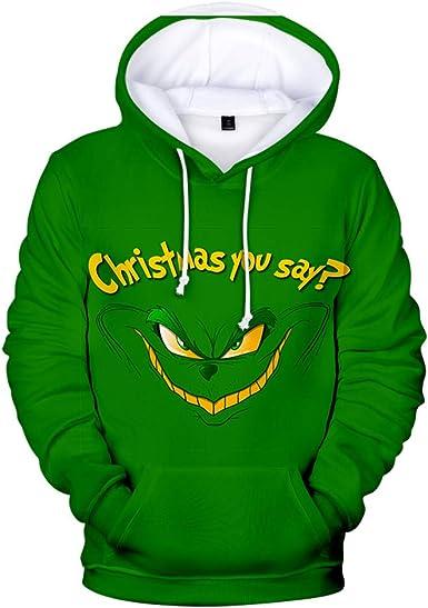 Feo Navidad Grinch Capucha Camisa de Entrenamiento Cosplay ...