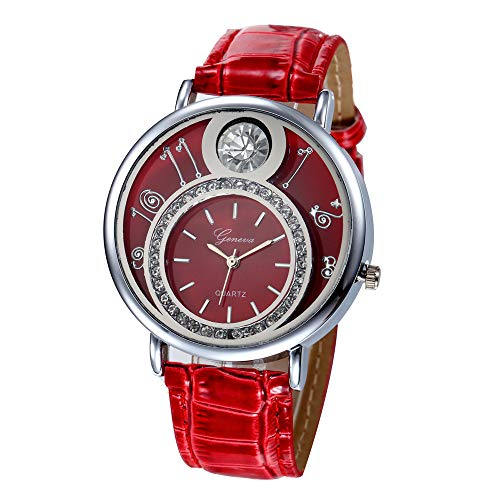 Geneva Fashion Women Wrist Watch,Outsta Diamond Analog Leather Quartz Watches Bracelet for Women Great Gift (Red D)