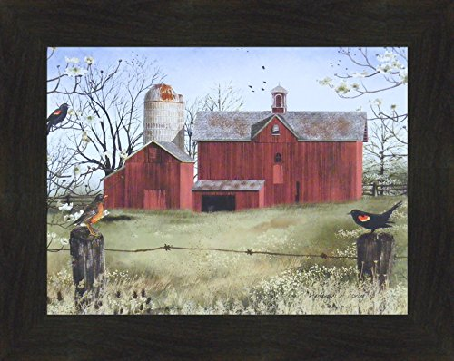 Harbingers Of Spring by Billy Jacobs 16x20 Country Barn Red Winged Black Birds Flowers Folk Art Print Framed Picture (2