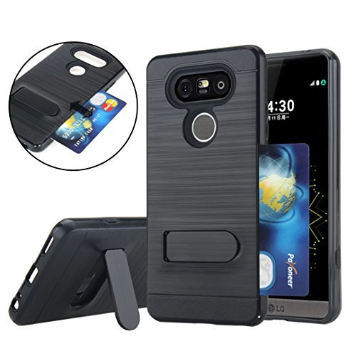 LG V20 Case, VL [Card Slot]-Protective Self Stand Case, [Perfect Desgin & Ultra Thin] [Anti-Scratch] Shockproof Slim Fit Dual Layer Protection Hybrid Cover with Kickstand for LG V20 (Black) - Marble Quilting