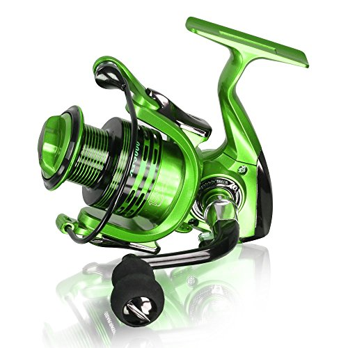 Motring Lightweight Smooth Spinning Fishing Reels with 5.5:1 Gear Ratio Metal Body Collapsible Handle13+1BB for