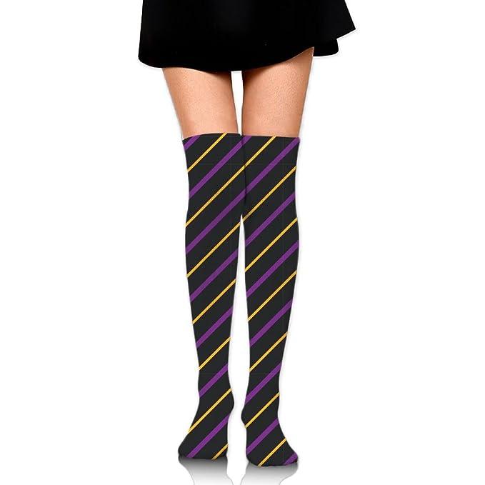 e39d0883b1a Amazon.com  Women s Knee High Socks Fancy Design Multi Colorful Patterned  Purple Yellow Black Stripes Knee Socks  Clothing