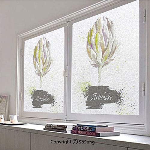 30x30 inch Window Privacy Film,Hand Drawn Delicious Fresh Vegetable Healthy Menu Good Eats Super Food Non-Adhesive Static Cling Frosted Window Film,Window Stickers for Kids Home Office