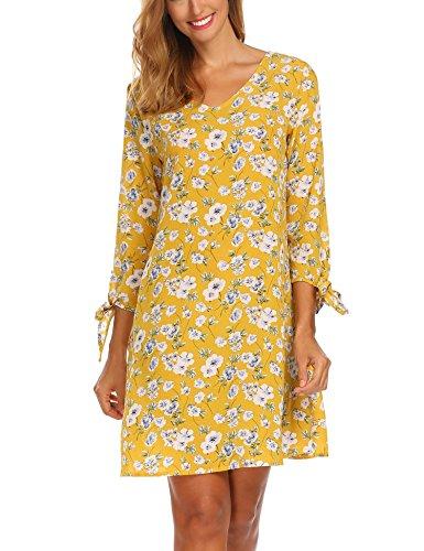 SE MIU Women Floral Print Long Sleeve V Neck Casual A-line Shift Dresses, Yellow, S