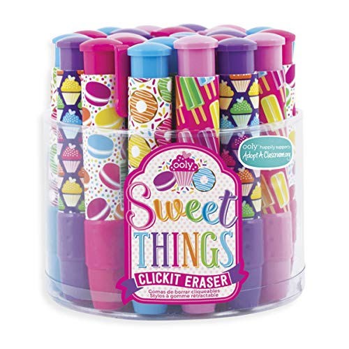 Tub Eraser - OOLY Click It Eraser, Eraser Pencil Set, Tub of 24 - Sweet Things