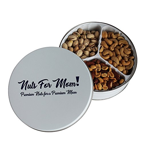 Nuts For Mom Gift Tin Premium Nut Assortment – 3 Section Tray Pistachios Mixed Nuts Cashews Fun Treat Gifts for Moms Christmas Mother's Day Keepsake Metal Tin Salty Snacks Premium Pistachios Gift Christmas Food Treats