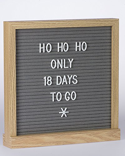 Premium Double Sided Felt Letter Board Black & Grey 10x10 Inches - Changeable Message Board with Solid Oak Wooden Frame and Stand - Includes 340 White Alphabet Letters, Numbers, Symbols, Emojis, and C by Life.Point