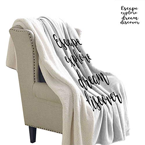 Benmo House Lightweight Microfiber Blankets Explore,Hand Drawn Brush Calligraphy Quote Escape Explore Dream Discover Lettering,Black and White Velour Blanket 60x32 Inch