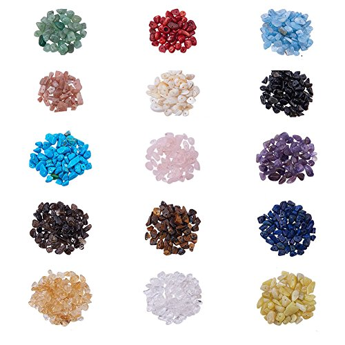 (PandaHall Elite 1 Box Chip Gemstone Beads Crushed Pieces Stone 15 Styles Length 12-22mm Jewelry Making)