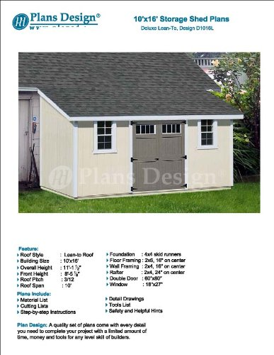 10 X 16 Deluxe Back Yard Storage Shed Project Plan Lean To