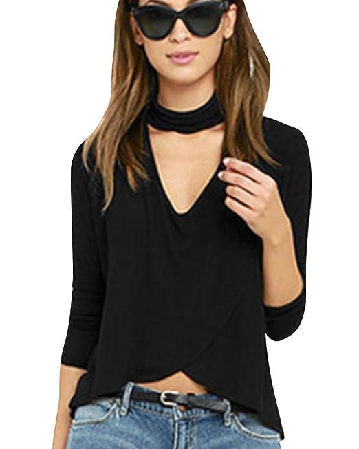 DianShao Mujer Camiseta Cruzada Cuello V Mangas Largas Simple Y Transpirable Blusa: Amazon.es: Ropa y accesorios