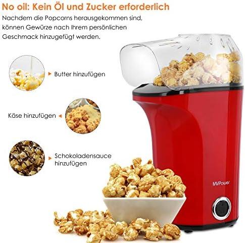 MVPower Máquina de Palomitas, 1400W Automática Popcorn Maker, Aire ...