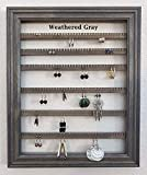 Picture Frame Earring Holder Organizer Storage Jewelry Rack Wall Mounted Hanging Display - Available in 10 colors - Weathered Gray