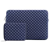 Mosiso Shock Resistant Diamond Foam Water Repellent Lycra Laptop Sleeve Bag Cover for 13-13.3 Inch MacBook Pro / Air,Notebook with Small Case, Navy Blue