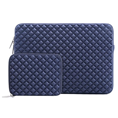 MOSISO Laptop Sleeve Bag Compatible 13-13.3 Inch MacBook Pro, MacBook Air, Notebook Computer with Small Case, Shock Resistant Diamond Foam Water Repellent Lycra Chromebook Tablet Cover, Navy Blue