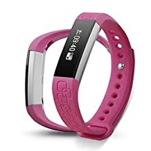 Epiktec Touch Screen Fitness Tracking Wristband - Multi-Functional DayFit 2.0 Heart Rate Smartband | Wate-Resistant Health Monitor Band for Regular Activity - Pink