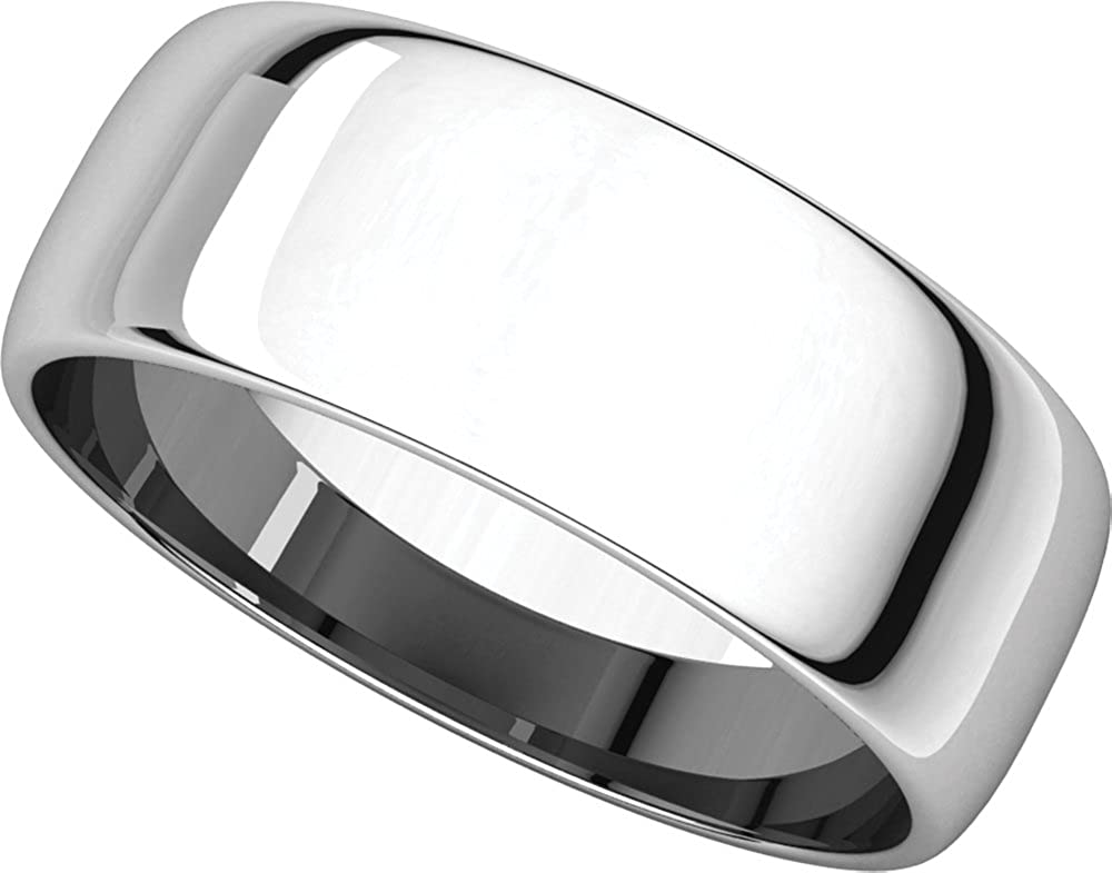 Mens 10K White Gold 7mm Light Half Round Wedding Band Ring