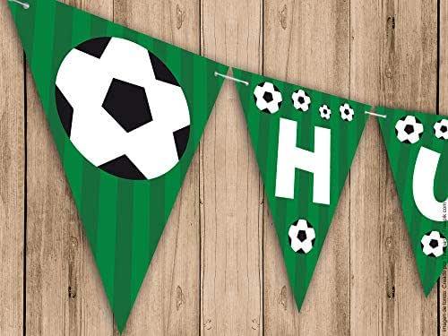 Guirnalda Mi Primera Comunión, Bautizo o Cumpleaños fútbol. Guirnalda decorativa. Banderines para fiestas.