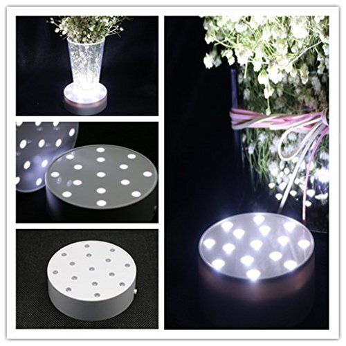 LED Vase Base Light - 4 inch White Box White Light Acrylic Round Super Bright 15 LED Beads LED Base Light Battery Powered Pedestal Base Plate Light For Wedding Halloween Party Deco (4inch WhiteBox) -