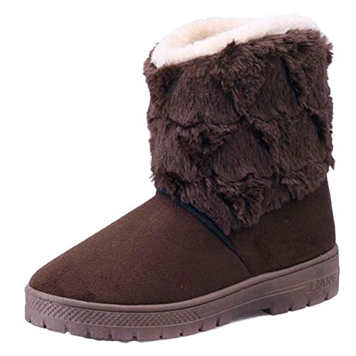 Kolylong Women Flat Lace up Fur Lined Winter Martin Boots Snow Ankle Boots Coffee