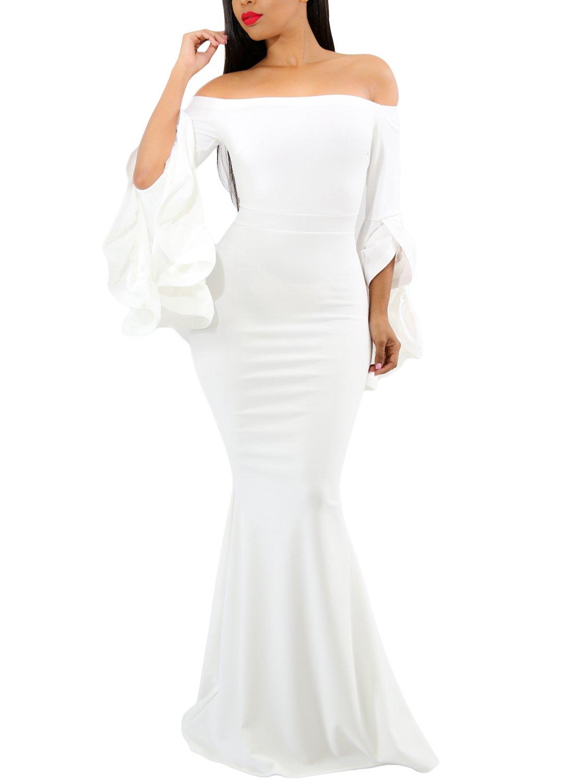 GOSOPIN Women Evening Long Party Dress Off Shoulder Fishtail Medium White