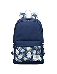 Artone Daypack Floral Daisy Canvas School Backpack With Laptop Compartment Deep Blue