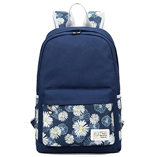 13' Harness (Artone Daypack Floral Daisy Canvas School Backpack With Laptop Compartment Deep Blue)