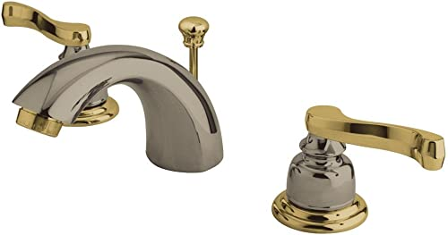 Kingston Brass KB8959FL Royale Mini Widespread Mini Bathroom Faucet with Brass Pop-Up Drain, Brushed Nickel Polished Brass