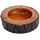 "Teagas 5.5"" Round Original Wooden Cigarette Ashtray, Outdoors and Indoors Ash Tray"